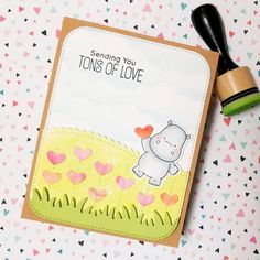 Love this super cute Happy Hippo stamp set from @mftstamps . Created a theme that this cute little hippo is giving you all his heart . #love #mftstamps #handmade #valentines #greetingcards #distressink