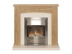 Adam Chilton Fireplace Suite in Oak with Helios Electric Fire in Brushed Steel, 39 Inch | Fireplace World