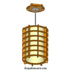 Hanging Wood Lamp Shade Laser Cut Image