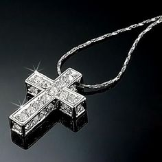 069be74473c 18K White Gold Gp Austrian Crystal Cross Diamond Pendant Necklace Chain N344