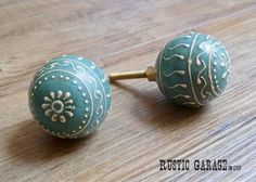 """SET OF 2 - 1.5"""" Aqua Blue and Cream Painted Round Wooden Knob - Drawer Pull - Anthropologie Inspired Home Decor"""