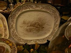Antique Brown Transferware Staffordshire Thanksgiving Turkey Platter by Royal Cauldon