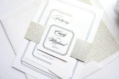 Silver Glitter Wedding Invitation  Simple Elegant Wedding