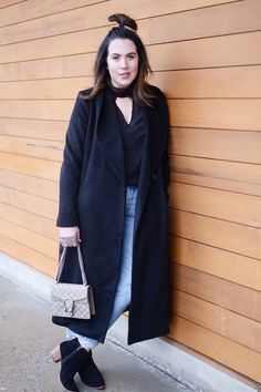 I think I've found the perfect black wool winter coat! Get all the details on at: http://www.covetandacquire.com/2017/01/winter-outfit-idea-minimalist-wool-robe-coat.html