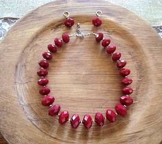 Vintage Red Faceted Beaded Necklace & by SofiasCobwebMuseum..$15 for set
