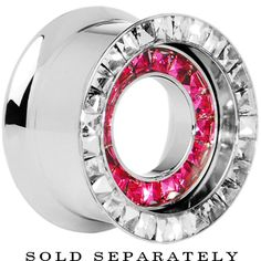 """3/4"""" Stainless Steel Rose Clear CZ Double Row Screw Fit Tunnel   Body Candy Body Jewelry"""