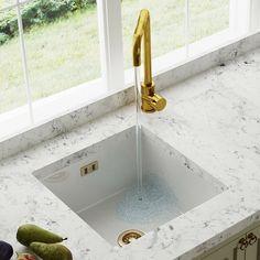 Astini Hampton 100 1.0 Bowl White Ceramic Undermount Kitchen Sink & Gold Waste · $170.99 Ceramic Kitchen Sinks, Kitchen Sink Taps, Ceramic Undermount Sink, White Kitchen Sink, Sink Mixer Taps, Kitchen Handles, Stainless Steel Taps, Bathroom Installation