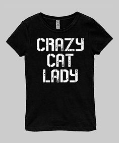 Black 'Crazy Cat Lady' Fitted Tee - Infant Toddler & Girls