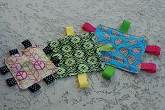 Make matching crinkly toys to go with the burp cloths and you have the perfect baby gift for under 5 bucks.