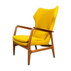Yellow Aksel Bender Madsen Wing Chair c1960