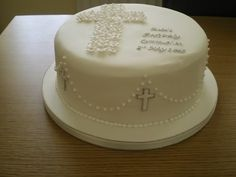 communion by purplemadusa Boy Communion Cake, First Holy Communion Cake, Comunion Cakes, Cake Paris, Cross Cakes, Religious Cakes, Confirmation Cakes, Baby Girl Baptism, Comuniones Ideas