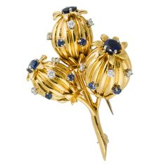 TIFFANY & CO. SCHLUMBERGER Sapphire Diamond Gold Flower Brooch