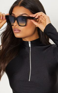 Black Blue Lens Oversized Square SunglassesThese statement sunglasses are sure to take any low ke. Round Lens Sunglasses, Clip On Sunglasses, Sunglasses Women, Women's Sunglasses, Black Women Fashion, Womens Fashion Online, Latest Fashion For Women, Women's Fashion, Fashion Eyewear