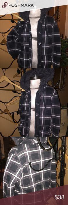 FOX jacket/coat plaid darling Comfy FOX plaid jacket with hood in plaid. Fox Jackets & Coats Utility Jackets