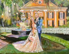Live Wedding Painting at Outhern Oaks Plantation