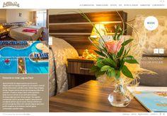 Изработка на уеб сайт за хотел Лагуна парк   Уеб сайтът на Лагуна парк олицетворява самия хотел – пълен баланс между елегантност и функционалност. Цветовете му са светли, ненатрапчиви, открояват снимките. Така ясно се виждат уютните стаи, веселите площадки за игра, приятните ресторанти и барове. Web Design, Spa, Home, Grief, Design Web, Ad Home, Homes, Website Designs, House