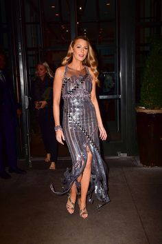 The American actress wore this metallic Chanel dress out in New York.