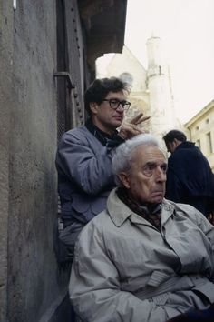 Wim Wenders and Michelangelo Antonioni on the set of 'Beyond the Clouds' (1994)