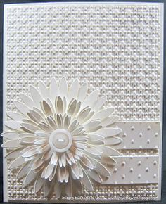 """All White Daisies ,,,,,,,,,, I'd use a yellow button though - and perhaps yellow on the two accent pieces or the background piece. The accent pieces could have words such as """"happy birthday"""" or """"thank you"""""""