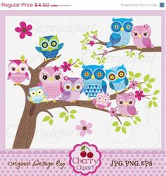 30 OFF SALE Owl Family 2Colorful Owl Digital Clip by Cherryclipart, $3.15