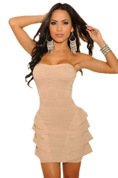 Her Signature Creation Pink Funky Strapless Mini Dress at hisandherfashion.com