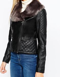 Image 3 ofOasis Leather Look Jacket with Detachable Faux Fur Collar