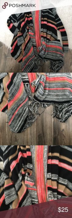 Boho cardigan Crochet Coral, black brown and grey boho cardigan from a boutique called Filly flare- has fringe and is super cute and flattering size med/large Sweaters Cardigans