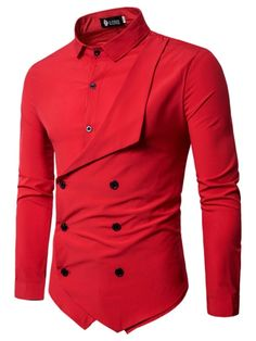 Men Shirt Brand Personality Double-breasted Fake Two Shirt Formal Solid Color Slim Fit Cotton Long Sleeve Dress Shirts Camisa Slim Fit Dress Shirts, Slim Fit Dresses, Fitted Dress Shirts, Long Sleeve Shirt Dress, Long Sleeve Shirts, Shirt Sleeves, Cheap Mens Shirts, Mens Shirts Online, Men Shirts