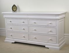 New Solid Mahogany French White Chest of Drawers - 8 Drawer Low Chest White Sleigh Bed, Sleigh Beds, Low Chest Of Drawers, White Chests, Bedding Collections, Bedroom Furniture, Master Bedroom, House Design, Console