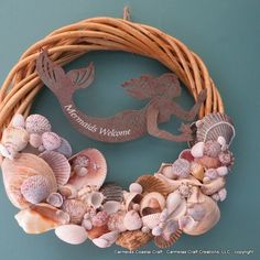 Beach decor wreath Mermaids welcome by CarmelasCoastalCraft, $59.00-- I bet I can make this!