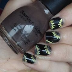Instagram media by pastelpolished - Thank you for 17k!  Here's some sunflower nails inspired by @iscreamnails  - Products used; - Sally Hansen 'Black Out' - Yellow, black, brown & white acrylic paint - tiny detail brush (from the craft store) - Tutorial up tomorrow