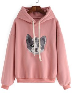Hooded Drawstring Cat Embroidered Pink Sweatshirt