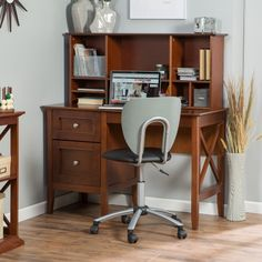 Belham Living Hampton Desk with Optional Hutch - Cherry - Desks at Hayneedle