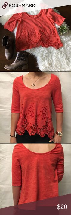 "C&V Coral Lace Scoop Neck 3/4 Sleeve Flowy Top Beautiful coral colored flowy Chelsea & Violet 3/4 sleeve top. Great used condition. Scoop Neck  and eyelet flower and lace detail. Armpit to armpit: 17"", shoulder to hem: 22"". No holes or stains. No trades please. Chelsea & Violet Tops"