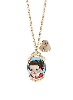 """<p>It's your party and you'll cry if you want to! Be the biggest crybaby in this gold tone cameo necklace featuring Crybaby artwork from Melanie Martinez.</p>  <ul> <li>12"""" long</li> <li>1 ½"""" charm</li> <li>Imported</li> </ul>"""