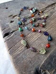 Rainbow gemstone necklace Multi semiprecious stones by HerWhimsy, $45.00