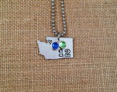 Washington State Necklace - HandStamped Necklace, Seattle Seahawks Football,
