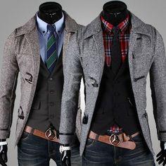 Manteau en Laine Toggle Slim Fashion Hommes