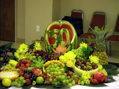 fruit+display+ideas | Watermelon silhouette for a 50th wedding anniversary.