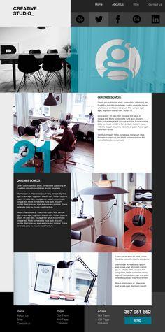 Theme_  Creative Studio by Graphemas  Website design layout. Inspirational UX/UI design sample.  Visit us at: www.sodapopmedia.com #WebDesign #UX #UI #WebPageLayout #DigitalDesign #Web #Website #Design #Layout