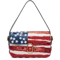 Marc Jacobs American Flag Sequin Python Shoulder Bag ($990) ❤ liked on Polyvore featuring bags, handbags, shoulder bags, marc jacobs, purses, red, american flag, white purse, white shoulder handbags and handbag purse
