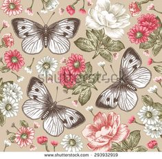 exquisite moth illustrated textiles   Butterflies, moths. Beautiful pink and white flowers. Vintage ...