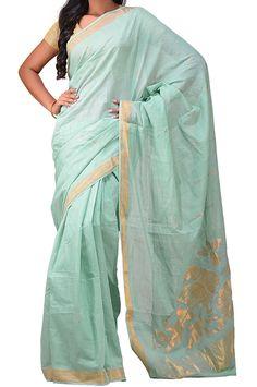 Sea Green Pure Handloom Khadi Cotton Saree