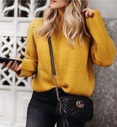 #winter #fashion /  Yellow Knit + Black Jeans