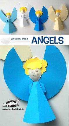 ANGELS with plastic spoons (krokotak), Christmas Activities, Christmas Crafts For Kids, Christmas Angels, Kids Christmas, Holiday Crafts, Activities For Kids, Christmas Decorations, Plastic Spoon Crafts, Plastic Spoons