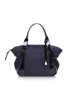 Francesco Biasia Black Alice Nabuk and Leather Shoulder Bag at FORZIERI  Leather Shoulder Bag d49aff18482
