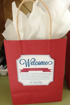 Wedding Welcome Note - Out of town Guest Gift Package - From the Family - Welcome Gift by CherishByNoel, $15.00