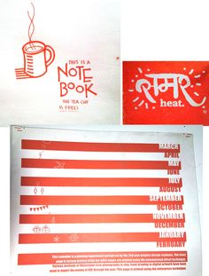 some of the graphic design work done by nid graphic design students printed in print labs. The calendar above as used techniques like photography clay and hand painting.