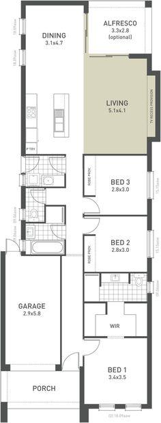 Ardross Single Storey Narrow Home Design Floor Plan Western Australia 2016 House Plans