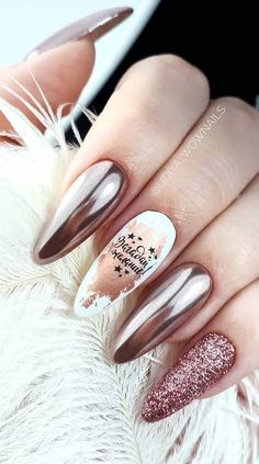 Best and Playful Glitter Nails Design Ideas in This Week Part glitter nail art; Shiny Nails, Bright Nails, Metallic Nails, Chrome Nails, Glitter Nail Art, Acrylic Nails, Bright Nail Designs, Nail Art Designs, Nails Design